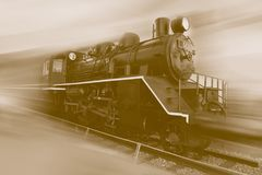 Old Steam Train running with motion blur effect stock photo