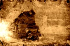 Old steam train sepia background. Texture Royalty Free Stock Images