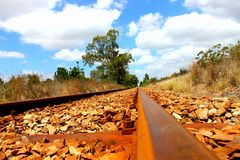 Old steam train track royalty free stock photo