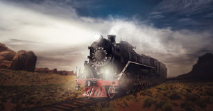 Old steam train, travel in valley. Vintage locomotive. Railway engine, ancient railroad vehicle Royalty Free Stock Photography