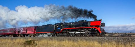 Old Steam Train Travelling through Clarkefield, Victoria, Australia, May 2019 stock images
