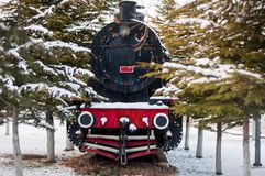 An old steam train in the trees, Afyon, Turkey. Vintage transportation stock photography
