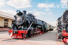 Old steam train, vintage locomotive Royalty Free Stock Photos