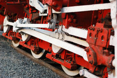 Old steam train wheels closeup Royalty Free Stock Photo
