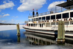 Old steamboat,Minne Ha-Ha, out on the melting waters of Lake George,New York, 2014 Stock Image