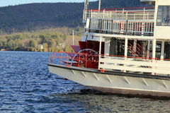 Old steamboat,with red spoke wheel, The Minnie Ha-Ha, out on Lake George,New York,2014 Royalty Free Stock Photos