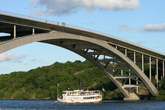 Old steamboat under the bridge Royalty Free Stock Images