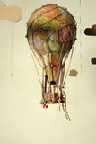 Old steampunk air balloon