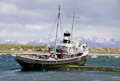 Old steamship. USHUAIA ARGENTINA NOVEMBER 29: Old steamship at the bay of Beagle Channel on november 29 2011 in Ushuaia, Argentina. It is commonly regarded as Royalty Free Stock Photography
