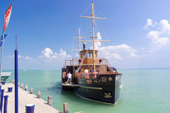 Old steamship in Balaton royalty free stock photo