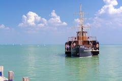 Old steamship in Balaton Stock Photo