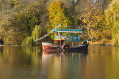 Old steamship on a lake Royalty Free Stock Image
