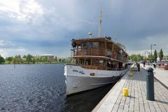 The old steamship `Paul Wahl` before departure on an excursion. Savonlinna, Finland. SAVONLINNA, FINLAND - JUNE 17, 2017: The old steamship `Paul Wahl` before Stock Photo