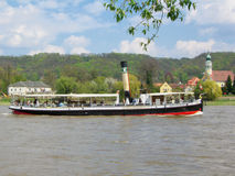 Old Steamship on the river elbe. Old steamer Royalty Free Stock Photos