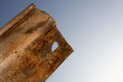 Old Steel. A close up of a discarded construction site steel retaining wall piece in the evening sky Stock Photography