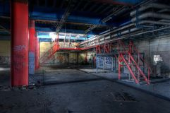 Old steel in an abandoned hall Stock Photography