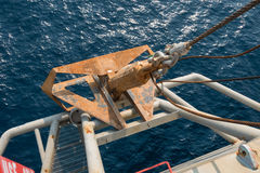 Old steel anchor. Old big steel anchor with sling and shackles royalty free stock photography