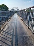 Old steel bridge. Rusty steel footbridge royalty free stock photos