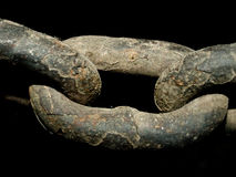 Old steel chain. On black background Stock Image