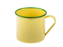 Old steel cup yellow isolated Royalty Free Stock Photography