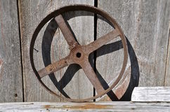 Old steel fly wheel or pulley Royalty Free Stock Image