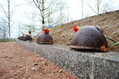 Old steel helmet on war memorial Royalty Free Stock Photography