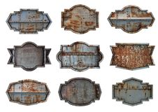Old steel metal sign plate texture background Stock Photo