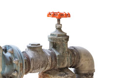 Old steel pipeline and valve Stock Images
