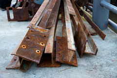 Old steel pole for constructions. Old steel pole and rusty for constructions Royalty Free Stock Image