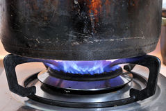 Old Steel pot and Fire Stock Photography
