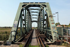 Old steel railway bridge Stock Images