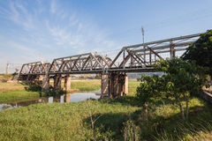 Old Steel Railway Bridge River Stock Images