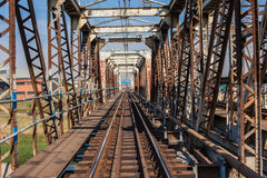 Old Steel Railway Bridge Frame Stock Image