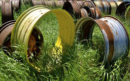 Old steel rims of large tractors Stock Image