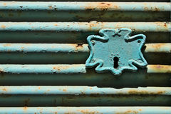 Old steel roll shutter lock Stock Photos