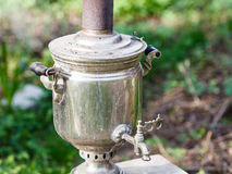 Old steel samovar - boiling kettle Stock Photos