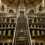 Vintage steel structure construction staircase inside building Royalty Free Stock Photography