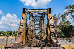 Old steel train bridge across the river Royalty Free Stock Photos