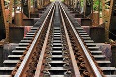 Old Steel train  bridge. In rural Thailand Stock Photo