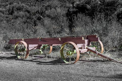 Old steel wagon frame used by pioneer Stock Photography