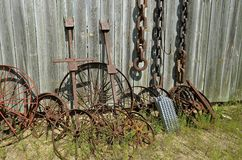 Old steel wheels and chains Royalty Free Stock Photo
