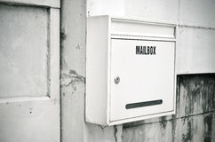 Old steel white mailbox Royalty Free Stock Images