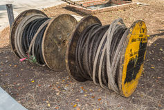 Old steel wire rope Stock Images