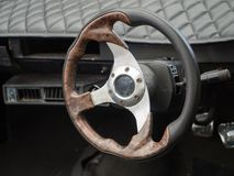 Old Steering Wheel and Dashboard. Steering Wheel and Dashboard from an old car Royalty Free Stock Images