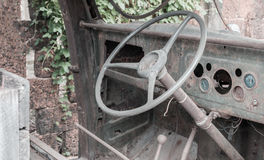Old steering wheel in old truck Royalty Free Stock Photography