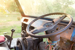 old steering wheel in old truck Royalty Free Stock Image