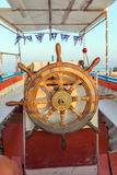 The old steering wheel of passenger boat, Corfu Royalty Free Stock Photography