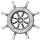 Old steering wheel ship hand drawing vintage style royalty free illustration