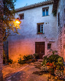 Old steets of Saint Paul de Vence in the night Royalty Free Stock Images