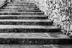 Old Steps In Black And White Royalty Free Stock Photo